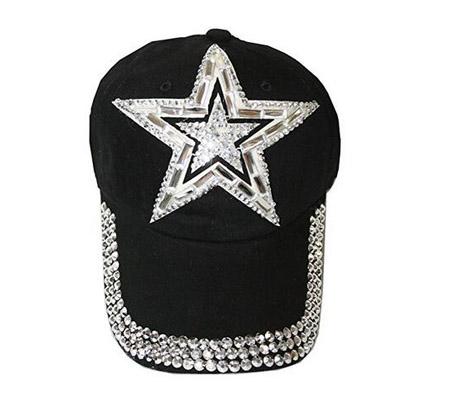 44873a9af629 Rhinestone Star Baseball Cap Cowboy Cap